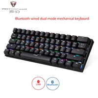 Motospeed CK62 Bluetooth wireless+USB wired Dual mode connect mechanical keyboard 61 Keys RGB LED Backlit Gaming keyboard