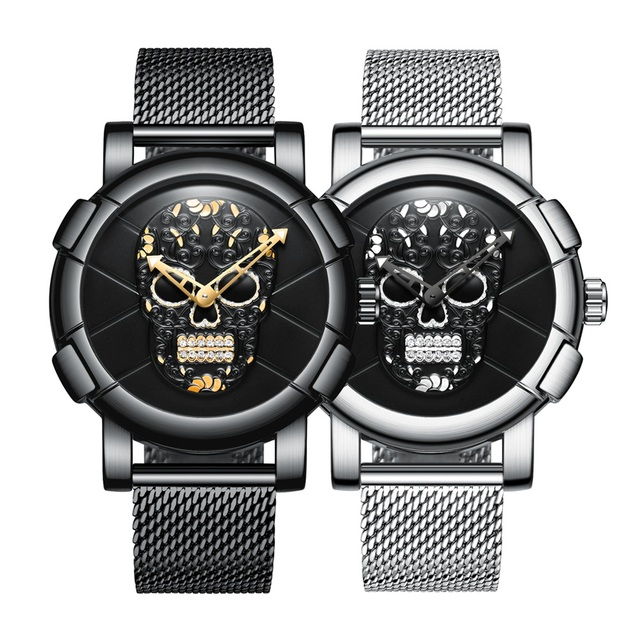 3D Skull Black Stainless Steel Gold Rhinestone Wristwatch 5