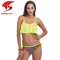 JABERNI Top New Sexy Bikini Brazilian 2017 Designer Girls Swimsuit Lotus Leaf Lace Biquini Push Up