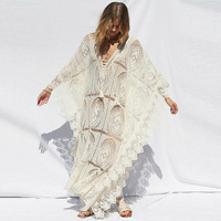 Sexy Loose Women Beach Dress Summer Bikini Cover Up Swimwear Sexy Hollow Out Lace Dress Long Clothes for Girls