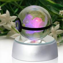 Ibrahimovic Pokemon Crystal Desk Lamp Transparent 5cm Glass Ball Pokemon Toy For Decorative Gifts Table Lamps Fancy Night Lights(China)