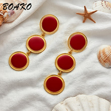 Fashion Geometric Long Dangle Earrings for Women Hanging Statement Drop Small Circle Pendant Korean Oorbellen