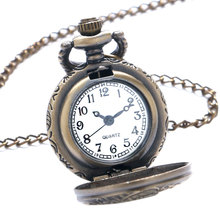 Small Dial Vintage Train Locomotive Pattern Quartz Necklace Pendant Pocket Watch Training Watch