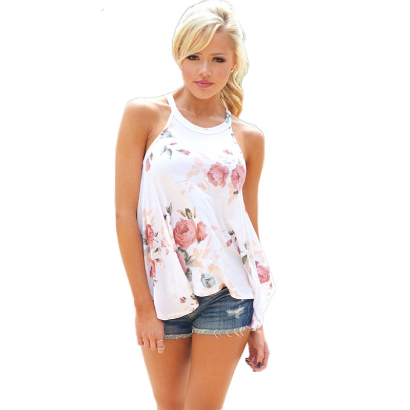 Casual T Shirt Women Summer Floral Print Tshirt Loose Woman Tee Tops O-neck Halter Top Tshirt 2018 Sexy Off Shoulder White Vest