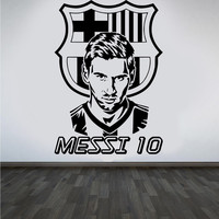 New Arrival Football Team Logo Wall Art Sticker Messi Vinyl Wall Sticker For Boys Room Removable