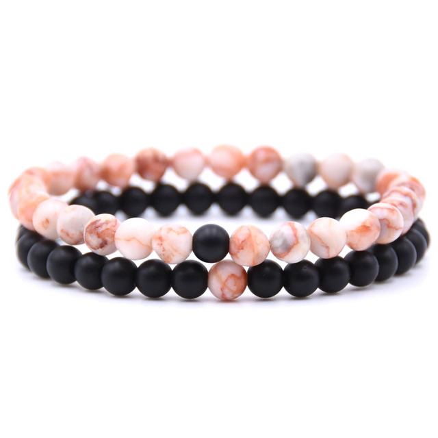 2pcs/set Natural Stone Mixing beads Bracelet men  4