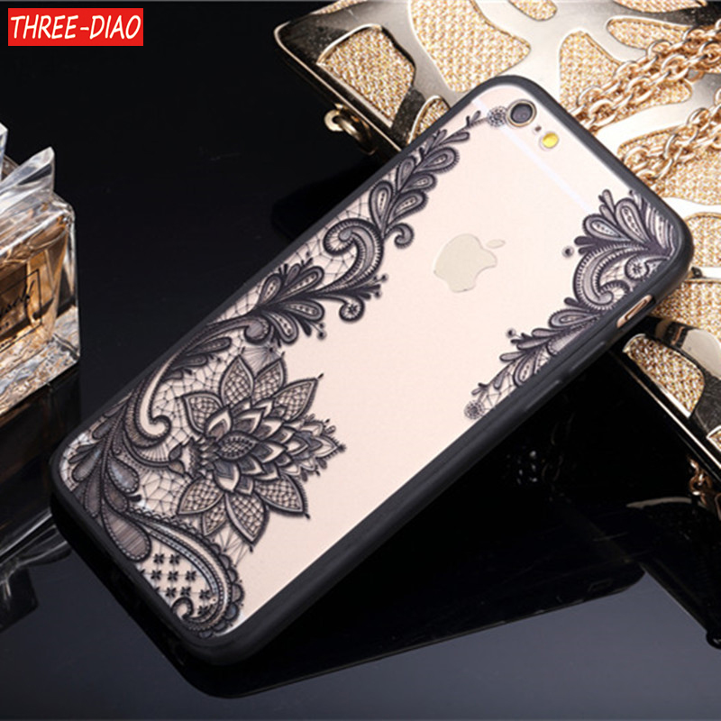<font><b>Sexy</b></font> Floral Phone Case For Apple <font><b>iPhone</b></font> 7 <font><b>8</b></font> 6 6s 5 5s SE Plus Lace Flower Hard PC+TPU Cases Back <font><b>Cover</b></font> For <font><b>iPhone</b></font> X <font><b>8</b></font> Plus image