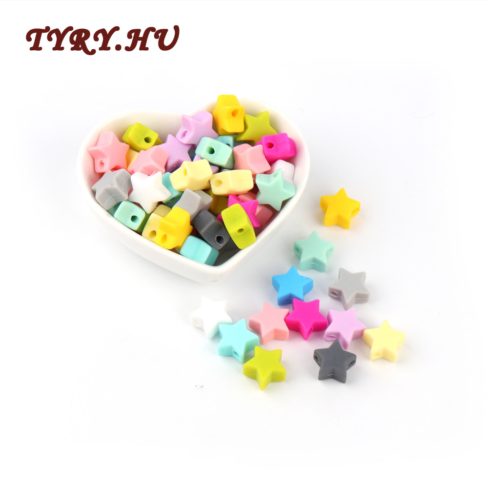 TYRY.HU 10pcs 14mm Silicone Beads Star Shape Food Grade Teether BPA Free Teething Necklace Bracelet Diy Jewelry Baby Teether Toy