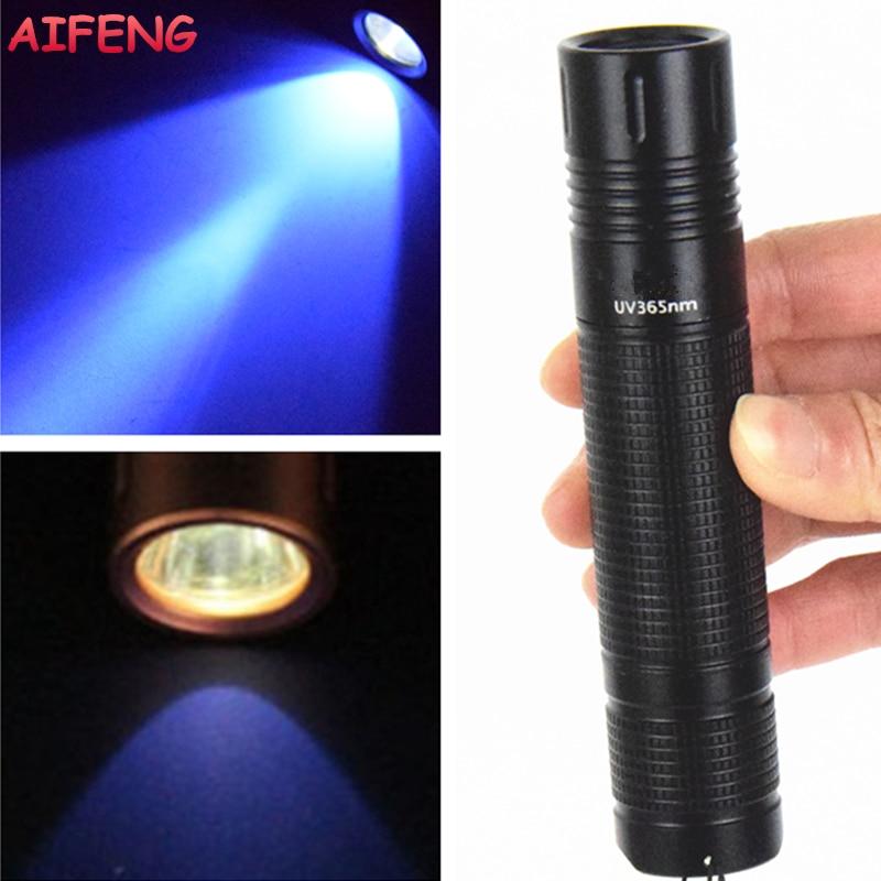 AIFENG Led zibspuldze UV lāpu 18650 akumulators darbināms UV lukturis 365nm melns gaismas mini lukturītis pārbaudītāja naudas noteikšanai