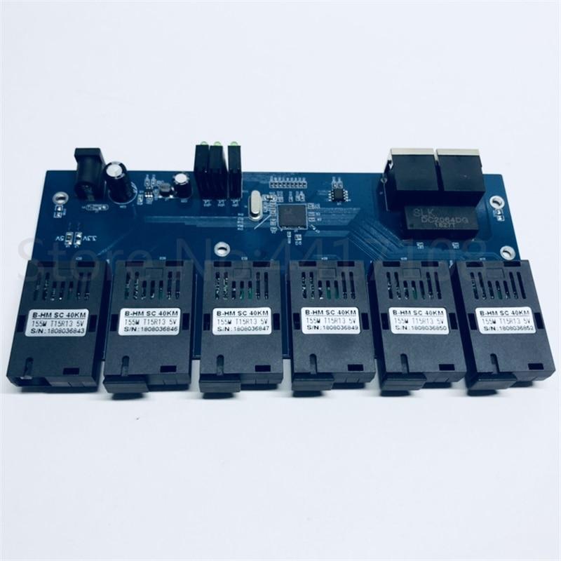 10 100M Fast Ethernet switch Converter 25KM Ethernet Fiber Optical Media Converter Single Mode 2 RJ45