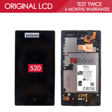 100% Tested Original Black IPS 800×480 Display For NOKIA Lumia 520 LCD Touch Screen With FRAME Digitizer Assembly