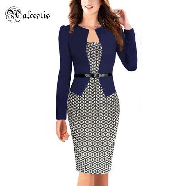 70502de47 Alta calidad caliente 2015 mujeres del verano elegante con cinturón tartán  Patchwork túnica trabajo del partido