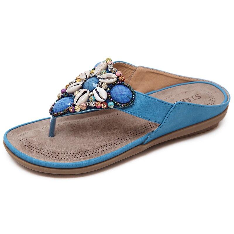 Popular Viaje Y Zapatillas Vacaciones Negro Playa Correa Bohemio Estilo rojo caqui azul Cuentas Con Plana Mujer Sandalias dSn8qRw