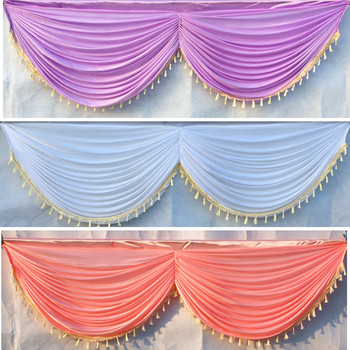 DHL Ship Ice Silk 20ft wedding backdrop curtain swag wedding drape with tassel party backdrop decoration 6 meter long