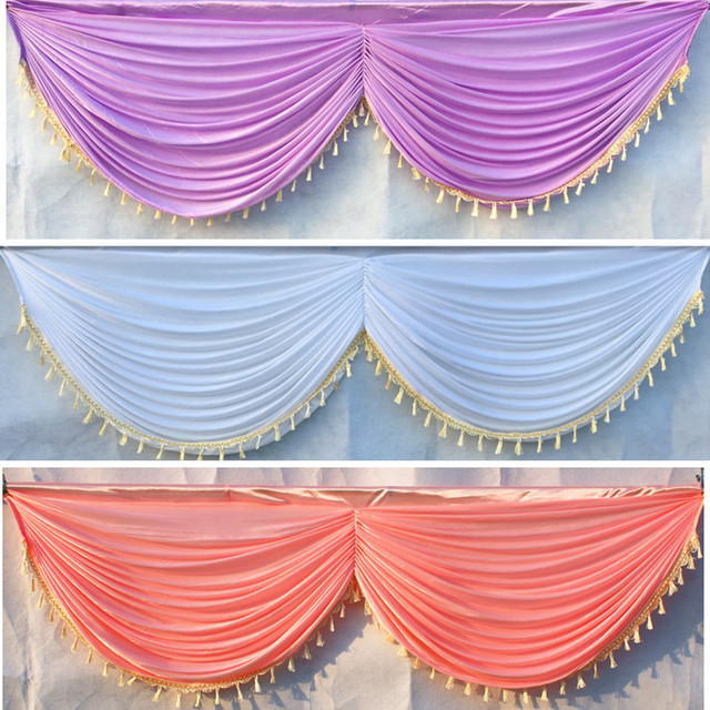 DHL Ship Ice Silk 20ft Wedding Backdrop Curtain Swag Drape With Tassel Party Decoration