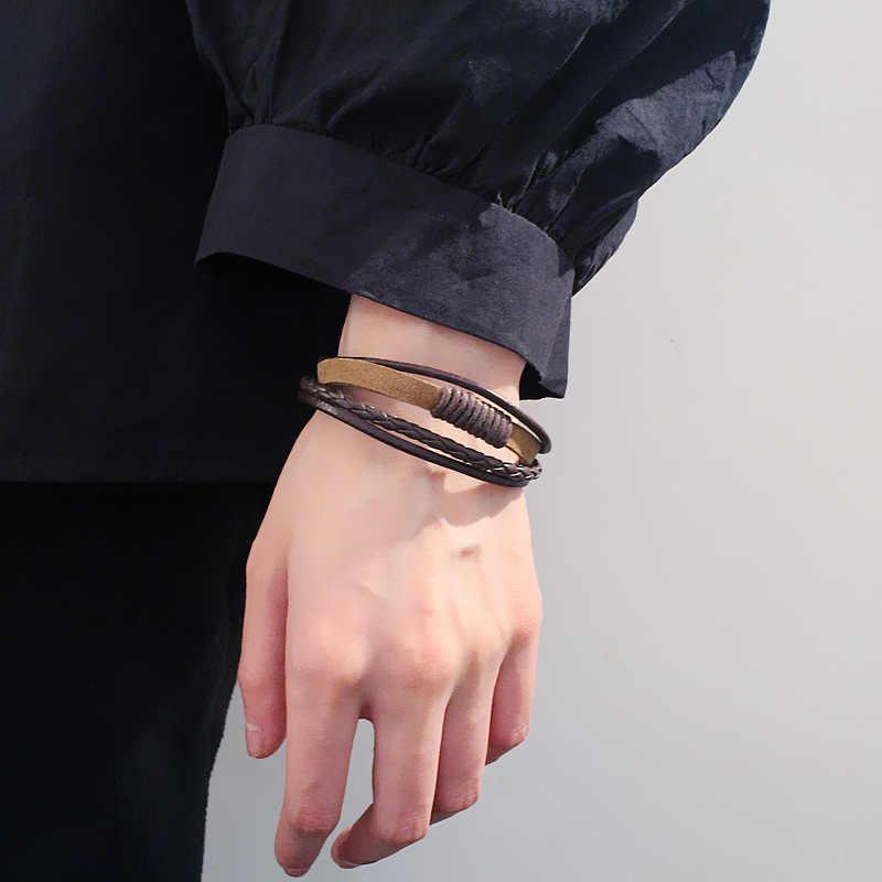 Wielowarstwowe Vintage bransoletka ze skóry mężczyźni moda niekończące się pleciony ręcznie czarny brązowy liny bransoletki i bransolety męskie prezent