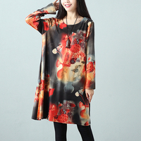 F JE 2018 Spring New Arts Style Women Vintage Print Long Sleeve Dress Loose Casual Knee