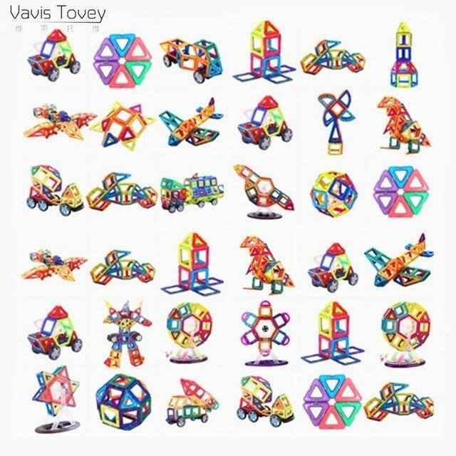 Vavis Tovey Diy 103PCS Mini Magnetic Building Blocks kits free sticker Magnet Designer Construction Toys Kids brinquedos gifts