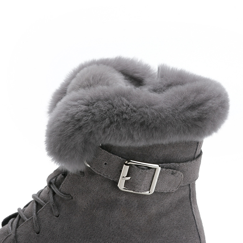 Image 5 - SWYIVY Rabbit Fur Winter Shoes Sneakers Women Ankle Boots Genuine Leather 2019 Winter New Plush Fur Snow Boots Warm Shoes Female-in Ankle Boots from Shoes