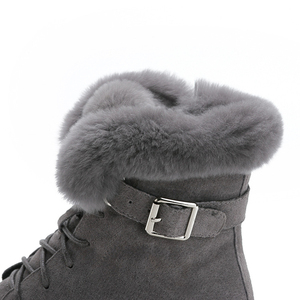 Image 5 - SWYIVY Rabbit Fur Winter Shoes Sneakers Women Ankle Boots Genuine Leather 2019 Winter New Plush Fur Snow Boots Warm Shoes Female