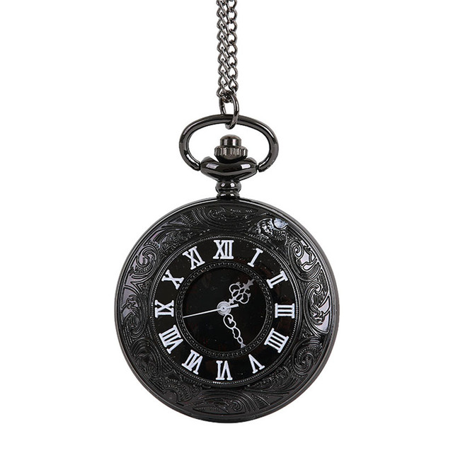 Fashion White Roman Word Bronze Pocket Watch Necklace For Grandpa Dad Gifts Vint