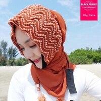 Islamic Adult Fashion brand Muslim Diamond leaf hijab Headscarf Hijab muslim islamic Beading Hijab scarf Wj2532 dupship