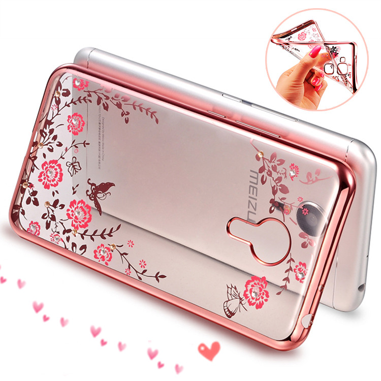 Luxury Rhinestone Flowers Crystal Clear Soft Case for Meizu M2 M3 Note Cover For Meizu M5 M5 Note MX6 U20 U10 Case For Meizu M3S