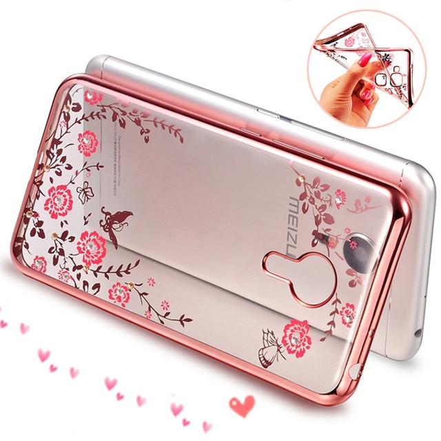 Luxury Rhinestone Flowers Crystal Clear Soft Case for Meizu M2 M3 Note Cover For Meizu M5 M5 Note MX6 U20 U10 Case For Meizu M3S