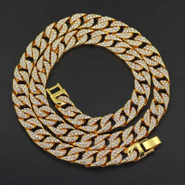 Mens Miami Curb Cuban Chain Gold Silver Necklace Hip Hop Iced Out Paved Rhinestones CZ Rapper Male Necklace Jewelry bracelet