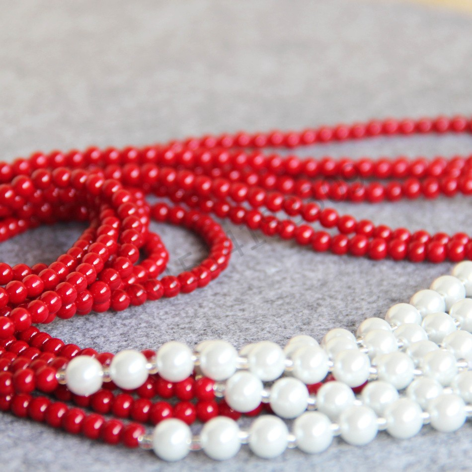 4 5mm pearl Natural Red Corel Shell pearl women girls 3pcs style White Necklace women Round Beads Wedding silver jewelry