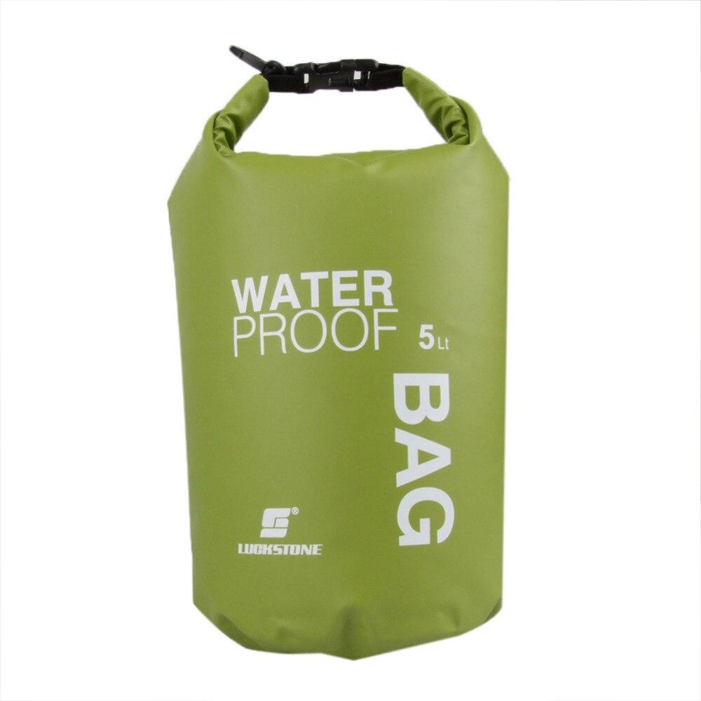 LUCKSTONE 5L Ultralight Outdoor Waterproof Rafting Dry Bag Camping Travel Kit Equipment Canoe Kayak Swimming Bags Storage Green