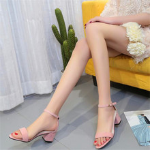 2019 summer new high-heeled with open toe suede sexy word buckle womens sandals
