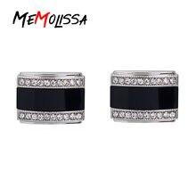 Мужские роскошные запонки с кристаллами memolissa черные квадратные