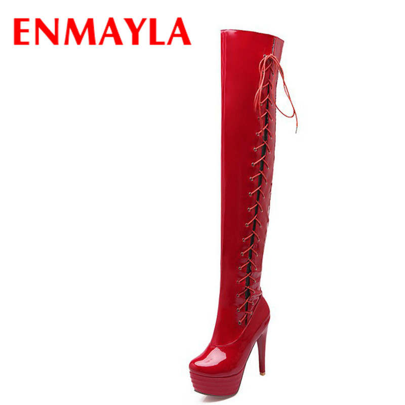 ENMAYLA Autumn Lace-Up Over-the-Knee Boots Sexy Platform Stiletto Heel Women Red Shoes Thigh High Boots Women Black Size 43 enmayla winter autumn round toe low heel knee high boots women flats lace up shoes woman rider brown black suede motorcycle boot
