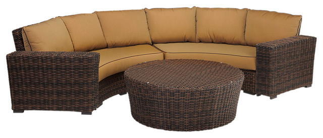 2015 Luxury Design Outdoor Wicker Patio Curved Love Seat With Cushions