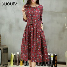 DUOUPA Vintage Spring Autumn Floral Dress Women 2019 Fashion Korean A-Line Dresses Elegant O-Neck Long Party Dress maxi vestido brand autumn vintage print dress women elegant party o neck a line floral dress fashion long sleeve maxi dresses female vestidos