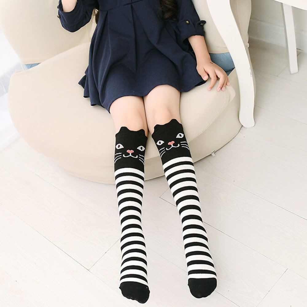 Lovely Cute <font><b>Kawaii</b></font> Girls Stockings Character Printed Children Kids Girl Animal Pattern <font><b>Knee</b></font> High <font><b>Socks</b></font> harajuku <font><b>Socks</b></font> image