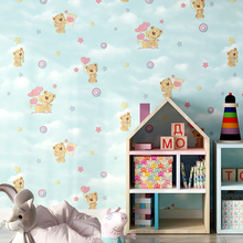 Beige Pink Blue Cartoon Children's room Wallpaper Cute bear Wall Paper 3d for Baby Boy Girls Bedroom
