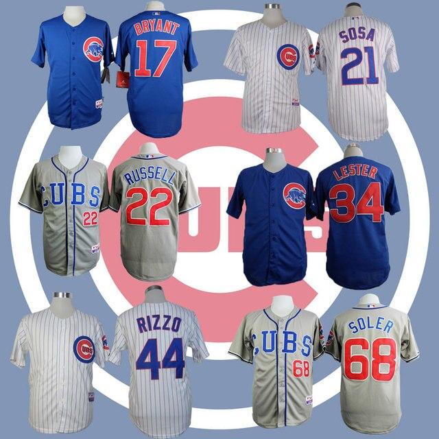 Anthony Rizzo jersey Kris Bryant Addison Russell jersey sammy sosa jersey Jorge Soler Chicago Cubs Baseball Jerseys Jon Lester