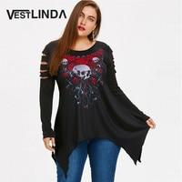 VESTLINDA Skull Rose Print Plus Size Ripped Handkerchief T Shirt Gothic Style Women Top Autumn O