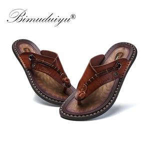 Image 3 - BIMUDUIYU Brand Summer New Arrival Summer Cool Men Flip Flops Rubber Soft Beach Shoes Non slide Mens Slippers Massage Footwear