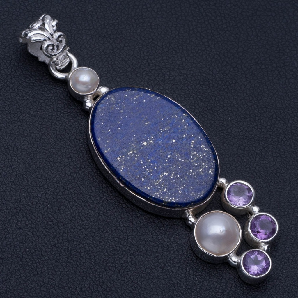 Natural Lapis Lazuli,River Pearl and Amethyst Punk Style 925 Sterling Silver Pendant 2 1/2 P0449Natural Lapis Lazuli,River Pearl and Amethyst Punk Style 925 Sterling Silver Pendant 2 1/2 P0449