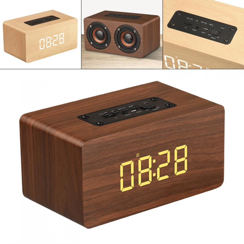 W5C 52MM Double Horn Wooden 4.2 Bluetooth Alarm Clock Speaker and AUX Wired Connection for Smartphone / PC