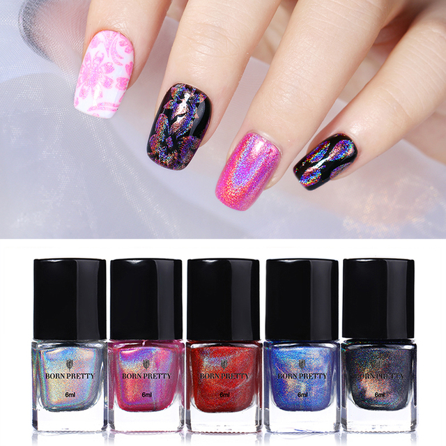 Born Pretty 6ml Holographic Stamping Polish Colorful Nail Art Printing Lacquer Varnish For Diy Manicure