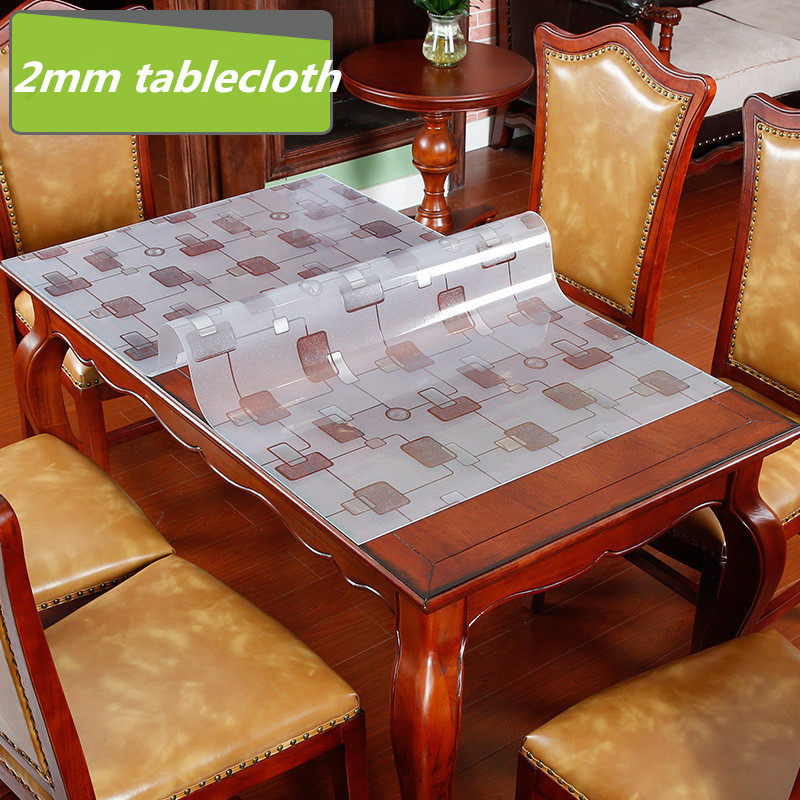 Europe Geometric waterproof PVC soft glass tablecloth 2mm thickness Anti-oil coffee table mat round dining table cover pad