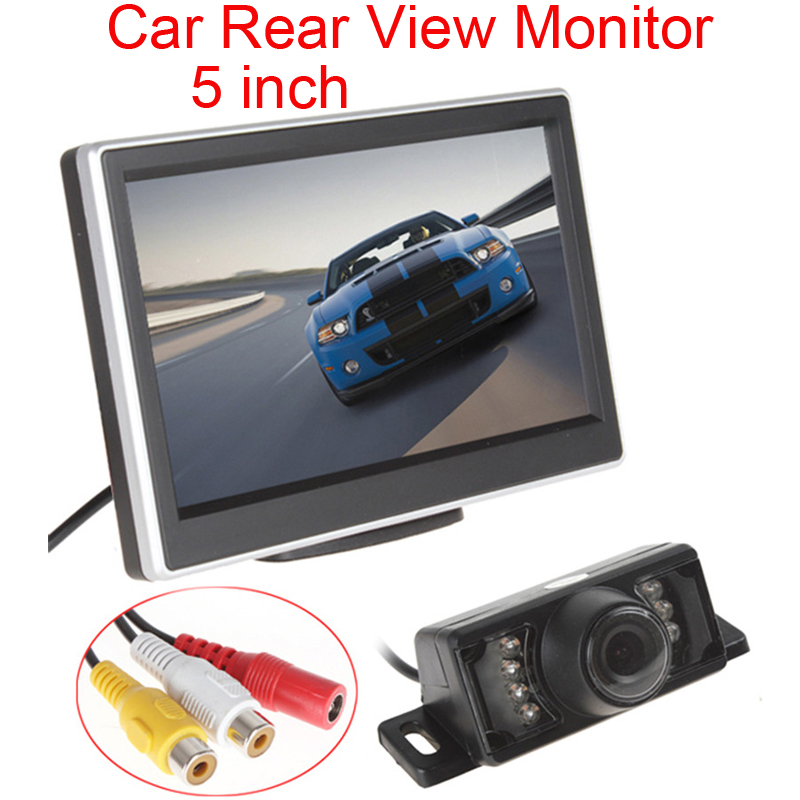 5 Inch TFT HD Digital LCD Screen 480 x 272 Color Car Rear View Monitor + 7 IR Lights Water proof 170 Degree Car Rear View Camera