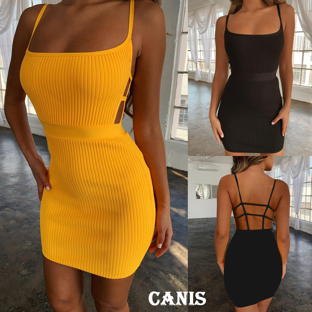 HTB1crcAPgHqK1RjSZFgq6y7JXXaT Summer Sexy Bandage Hollow Out Dress Women Fashion Sleeveless Backless Bodycon Party Club Dress Mini Wrap Dress