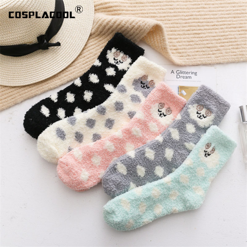 [COSPLACOOL]Embroidery Sheep Warmer Cute Ear Terry   Socks   Winter Animal Meias Floor Funny   Socks   Women Sleep Kawaii Skarpetki Sox