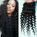 virgin indian deep wave closure free part 8A Indian lace closure with baby hair deep curly Virgin Human Hair Curly Closure
