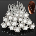 SMT20620Pcs Wedding Bridal Faux Pearl Rhinestone Flower Hair Stick Pins Clips Silver Color Jewelry